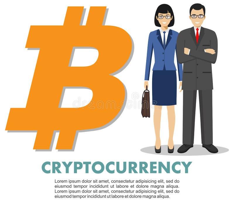 Έννοια Cryptocurrency Ο επιχειρηματίας και η επιχειρηματίας με το bitcoin υπογράφουν στο επίπεδο ύφος που απομονώνεται στο άσπρο  διανυσματική απεικόνιση