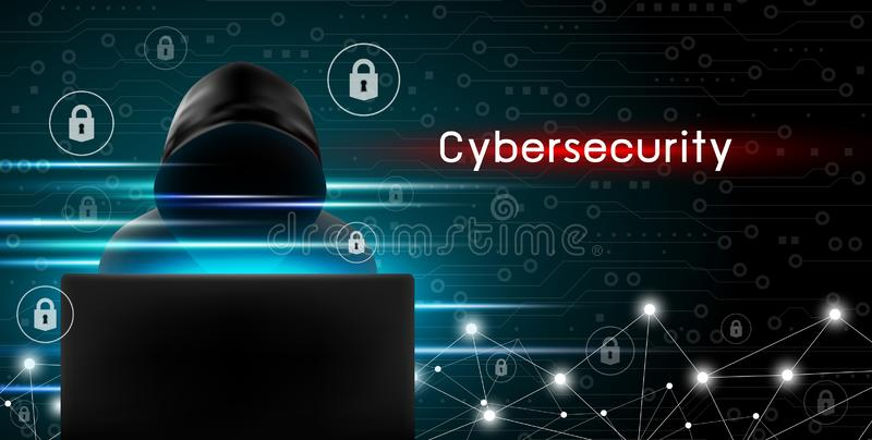 Έννοια Cybersecurity του χάκερ που χρησιμοποιεί τον υπολογιστή με το βασικό εικονίδιο διανυσματική απεικόνιση