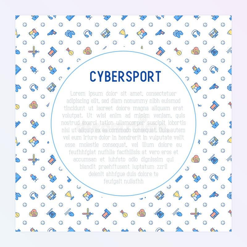 Έννοια Cybersport με τα λεπτά εικονίδια γραμμών διανυσματική απεικόνιση