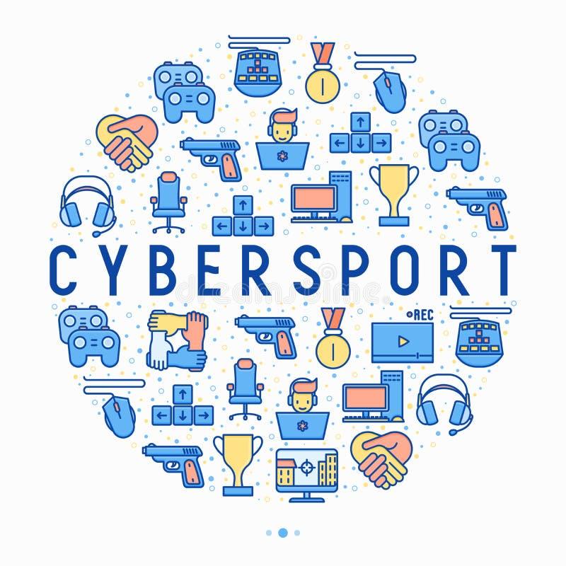 Έννοια Cybersport στον κύκλο με τα λεπτά εικονίδια γραμμών διανυσματική απεικόνιση