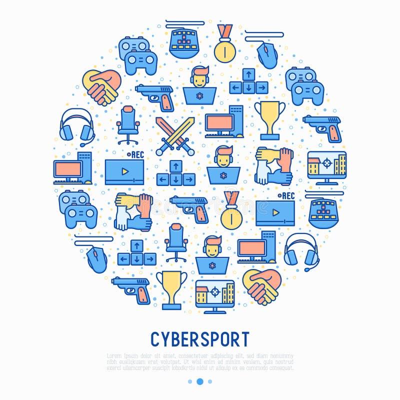 Έννοια Cybersport στον κύκλο με τα λεπτά εικονίδια γραμμών ελεύθερη απεικόνιση δικαιώματος
