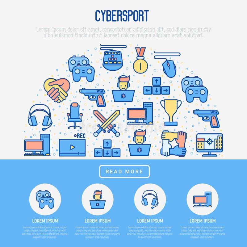 Έννοια Cybersport στο μισό κύκλο διανυσματική απεικόνιση