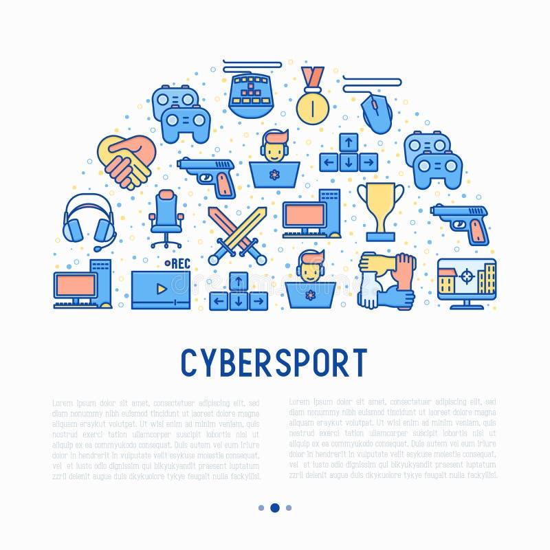 Έννοια Cybersport στο μισό κύκλο ελεύθερη απεικόνιση δικαιώματος