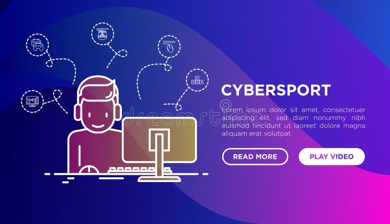 Έννοια Cybersport: gamer στο παιχνίδι κασκών στο PC απεικόνιση αποθεμάτων