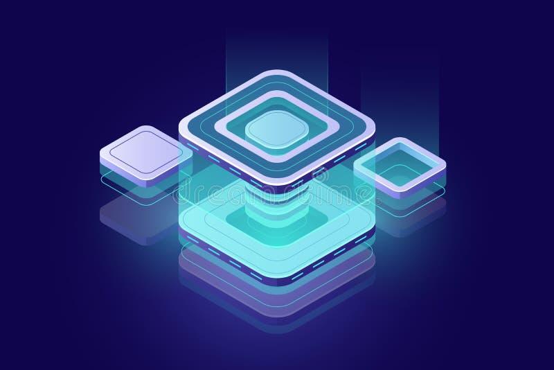 Έννοια Datacenter, blockchain isometric εικονίδιο τεχνολογίας, ψηφιακό στοιχείο σχεδίου τεχνολογίας, δωμάτιο κεντρικών υπολογιστώ απεικόνιση αποθεμάτων