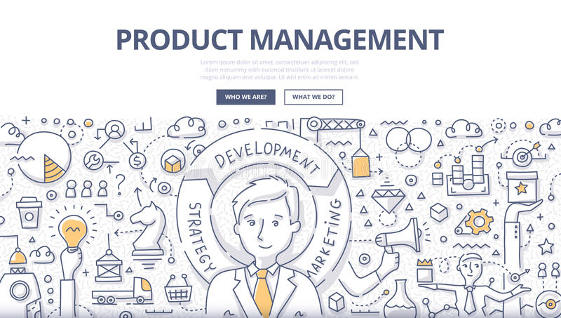 Έννοια Doodle διαχείρισης προϊόντος ελεύθερη απεικόνιση δικαιώματος