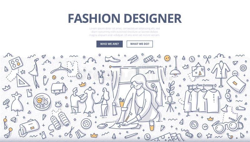 Έννοια Doodle σχεδιαστών μόδας διανυσματική απεικόνιση
