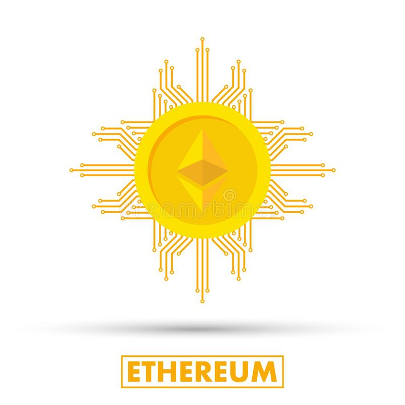 Έννοια Ethereum Στεναγμός λογότυπων Cryptocurrency Ψηφιακά χρήματα Αλυσίδα φραγμών, σύμβολο χρηματοδότησης Επίπεδη διανυσματική α απεικόνιση αποθεμάτων