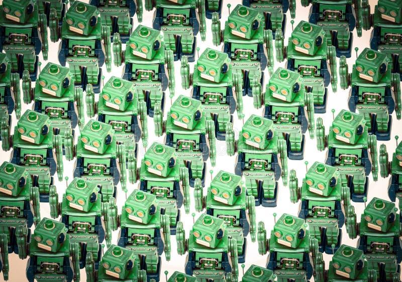 Έννοια gong με λαλημένο με τα αναδρομικά παιχνίδια ρομπότ στοκ εικόνες