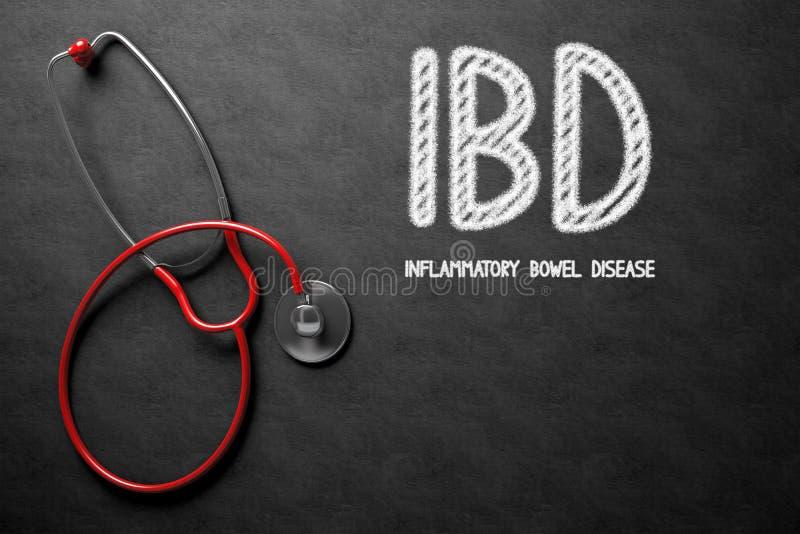 Έννοια IBD στον πίνακα κιμωλίας τρισδιάστατη απεικόνιση απεικόνιση αποθεμάτων