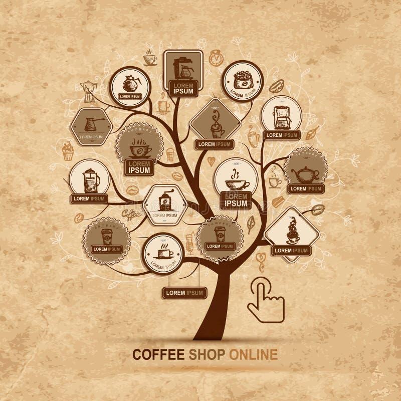 Έννοια Infographic - δέντρο με τα εικονίδια καφέ ελεύθερη απεικόνιση δικαιώματος