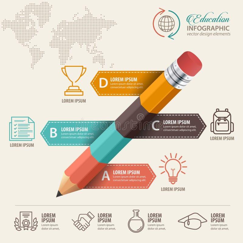 Έννοια Infographic εκπαίδευσης Ομιλία μολυβιών και φυσαλίδων με τα εικονίδια ελεύθερη απεικόνιση δικαιώματος