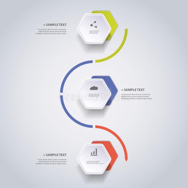 Έννοια Infographic - σχέδιο διαγραμμάτων ροής - υπόδειξη ως προς το χρόνο με Hexagons διανυσματική απεικόνιση