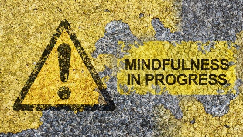 Έννοια Mindfulness που χρησιμοποιεί το οδικό σημάδι στοκ εικόνες