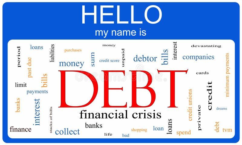 Έννοια Nametag σύννεφων του Word χρέους απεικόνιση αποθεμάτων