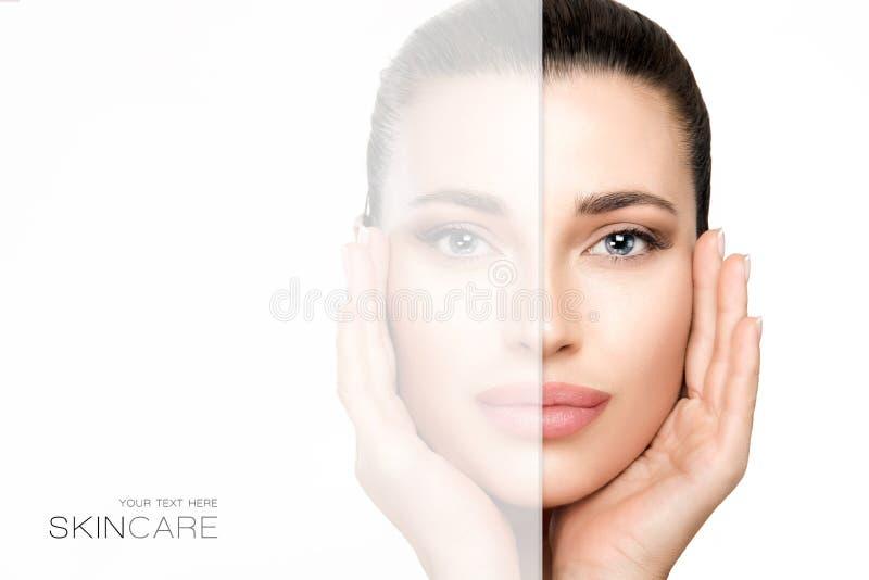 Έννοια Skincare και ομορφιάς με μια πανέμορφη γυναίκα στοκ εικόνα