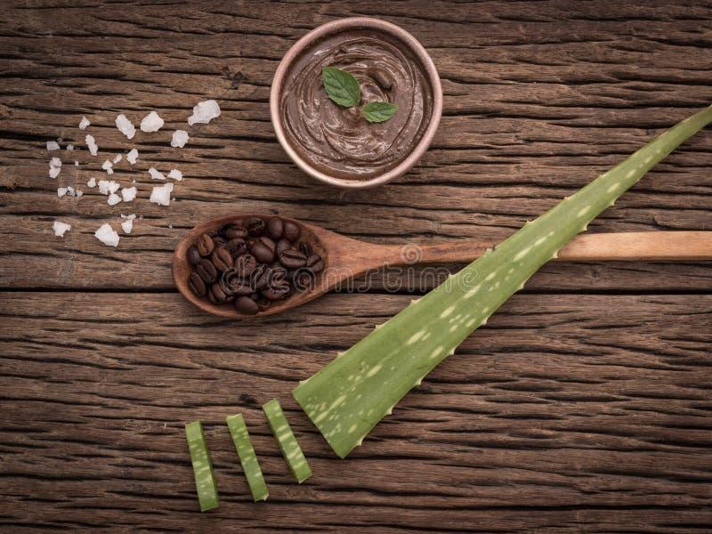 Έννοια SPA στο ξύλινο υπόβαθρο, καταπληκτικά οφέλη Aloe Βέρα για την τρίχα, το δέρμα και την βάρος-απώλεια Ένα άλλο μέρος των alo στοκ φωτογραφία
