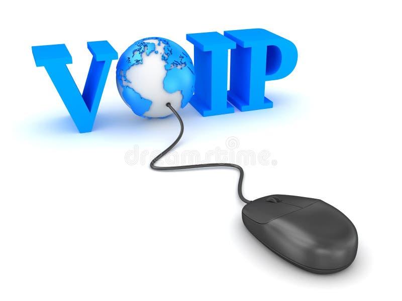 Έννοια Voip με το ποντίκι κόσμων και υπολογιστών απεικόνιση αποθεμάτων