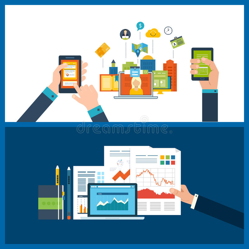 Έννοιες για τη διαχείριση του προγράμματος, μάρκετινγκ Διαδικτύου, οικονομική έκθεση, διαχείριση του προγράμματος απεικόνιση αποθεμάτων