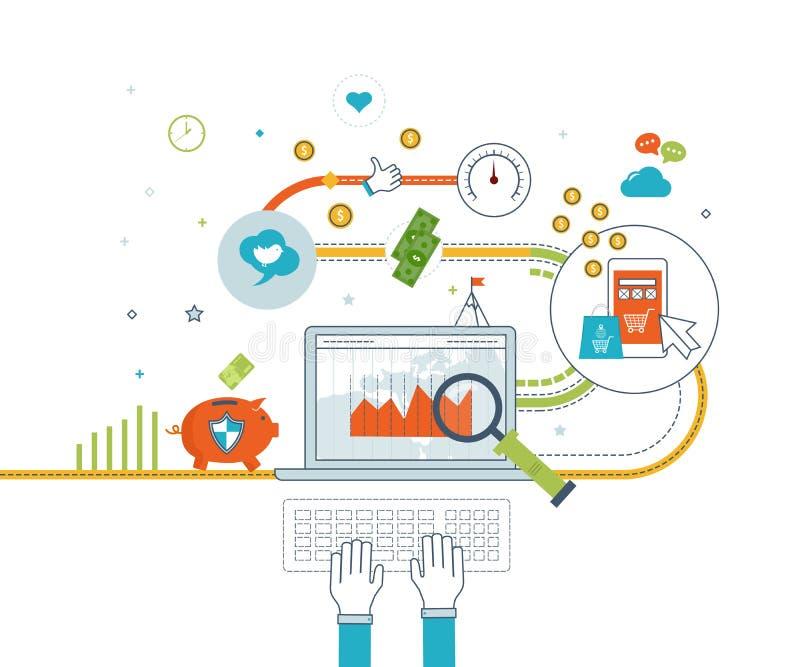 Έννοιες για το κινητό μάρκετινγκ, on-line τις αγορές και την οικονομική στρατηγική διανυσματική απεικόνιση