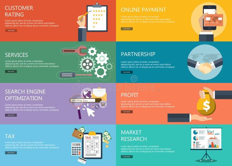 Έννοιες επιχειρήσεων και χρηματοδότησης Επίπεδη διανυσματική απεικόνιση διανυσματική απεικόνιση