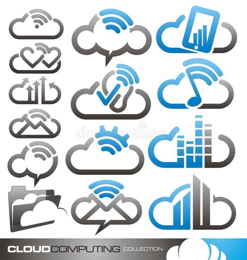 Έννοιες σχεδίου λογότυπων υπολογισμού σύννεφων και ιδέες διανυσματική απεικόνιση