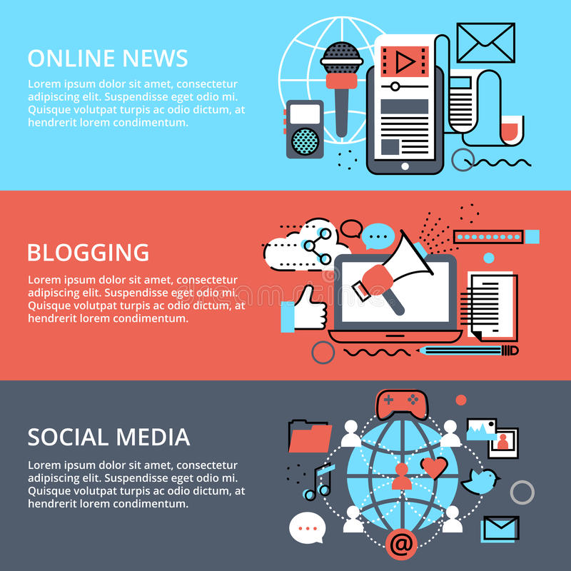 Έννοιες των κοινωνικών μέσων, των σε απευθείας σύνδεση ειδήσεων και διανυσματική απεικόνιση