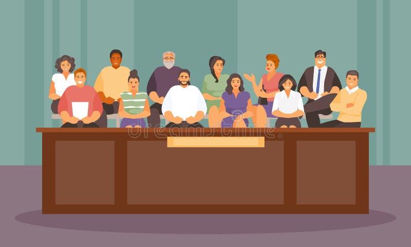 Ένορκοι στο διάνυσμα δικαστηρίων ελεύθερη απεικόνιση δικαιώματος