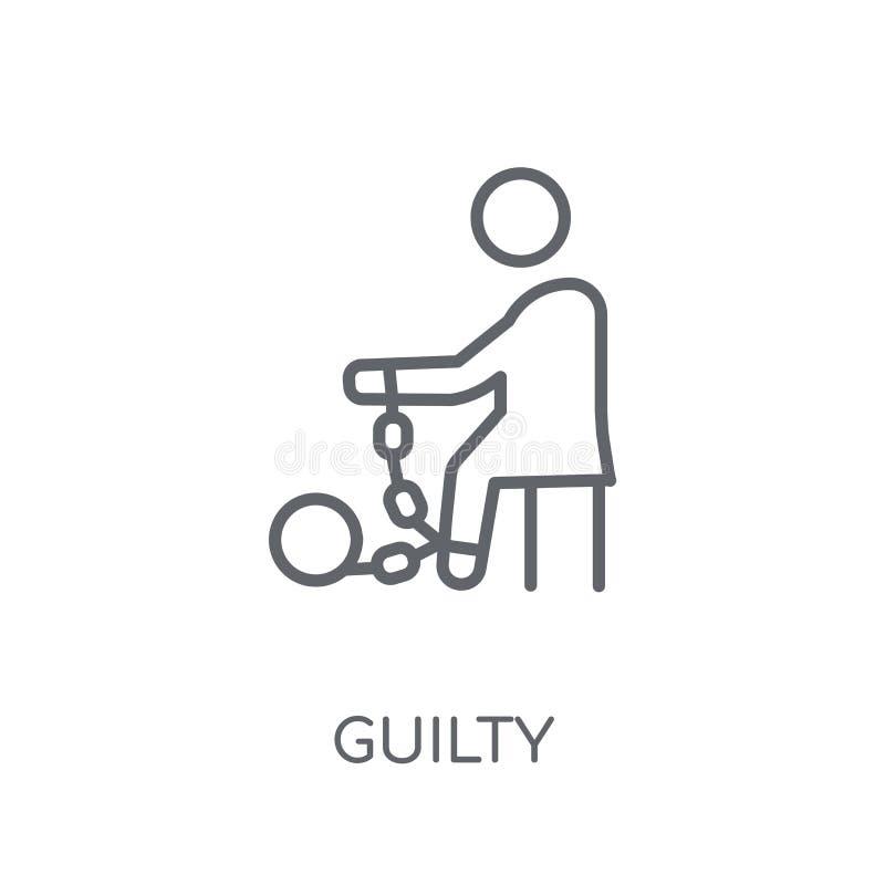 Ένοχο γραμμικό εικονίδιο Σύγχρονη έννοια λογότυπων περιλήψεων ένοχη στο λευκό απεικόνιση αποθεμάτων