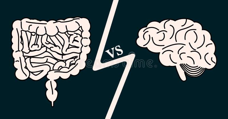 Έντερο εναντίον της έννοιας εγκεφάλου διανυσματική απεικόνιση