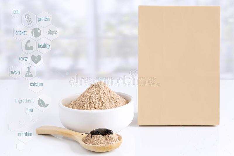 Έντομο σκονών γρύλων για την κατανάλωση ως προϊόντα φιαγμένα από μαγείρεμα του κρέατος εντόμων με τα εικονίδια μέσων συμβόλων και στοκ εικόνες με δικαίωμα ελεύθερης χρήσης