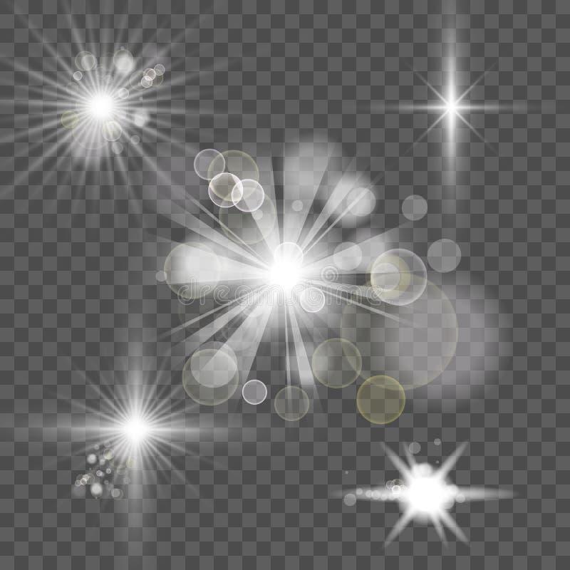 Έντονο λευκό αφηρημένο εφέ αναλαμπής στο φόντο διαφάνειας διανυσματική απεικόνιση