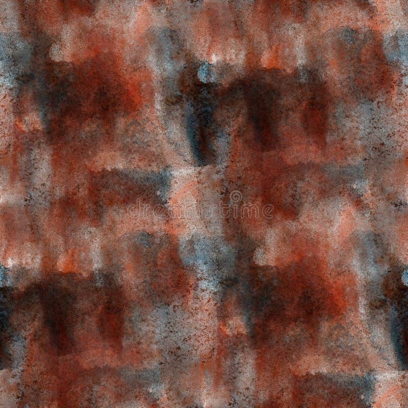 Έντονο φως από την καφετιά άνευ ραφής σύσταση watercolor χρωμάτων με την τέχνη σημείων και ραβδώσεων απεικόνιση αποθεμάτων