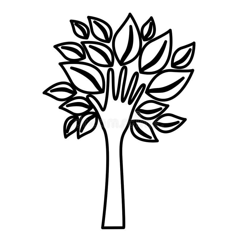 δέντρο αριθμού με τα φύλλα και μίσχος στο χέρι μορφής απεικόνιση αποθεμάτων