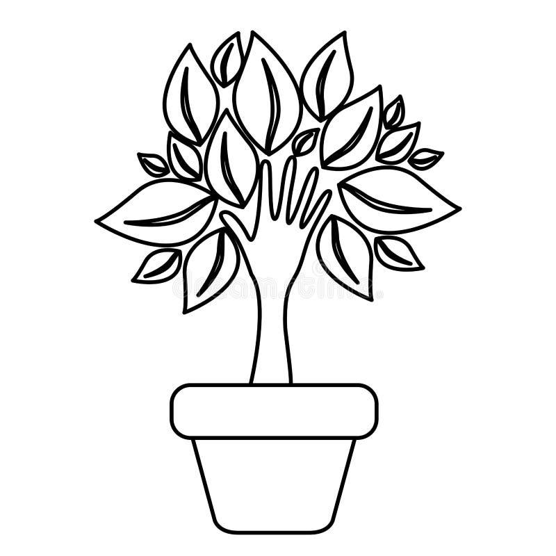 δέντρο αριθμού με τα φύλλα μέσα στο δοχείο λουλουδιών διανυσματική απεικόνιση