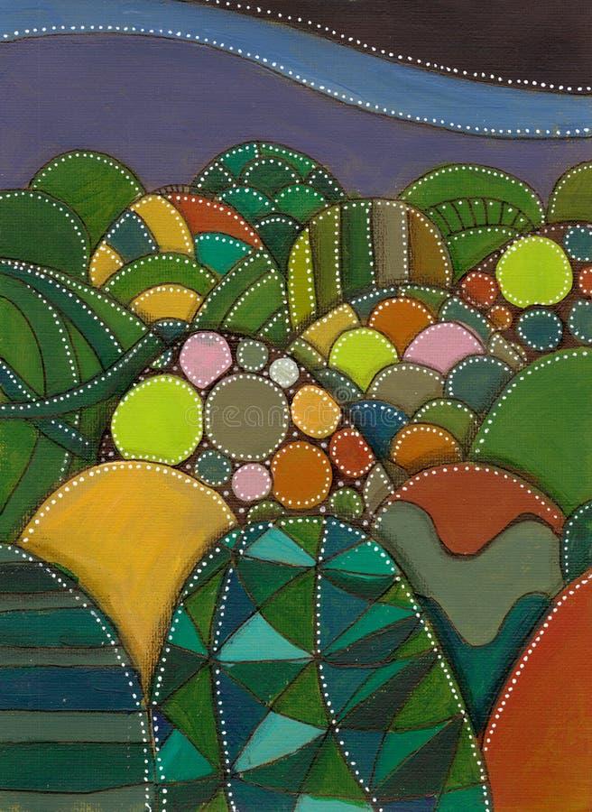 δέντρο πεδίων τοπίο νεράιδων Ζωηρόχρωμοι τυποποιημένοι λόφοι Ακρυλική ζωγραφική φαντασίας απεικόνιση αποθεμάτων