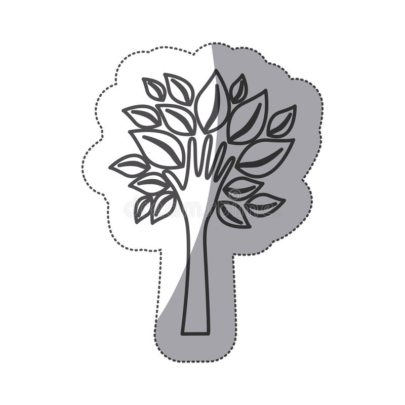 δέντρο σκιαγραφιών με τα φύλλα και μίσχος στο χέρι μορφής απεικόνιση αποθεμάτων