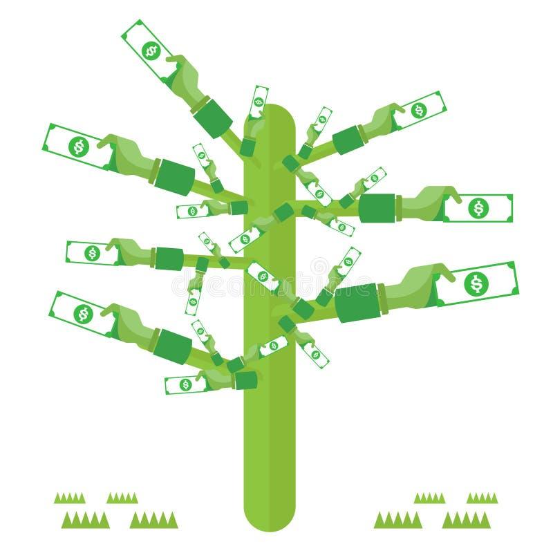 δέντρο χεριών χρημάτων πράσινο με τα εικονίδια καθορισμένα το διανυσματικό νόμισμα διανυσματική απεικόνιση