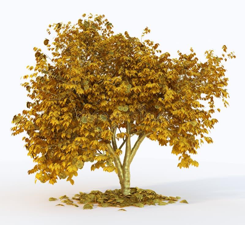 δέντρο χρημάτων στο σύμβολο υποβάθρου απομονώσεων της επιτυχούς επιχειρησιακής έννοιας ελεύθερη απεικόνιση δικαιώματος