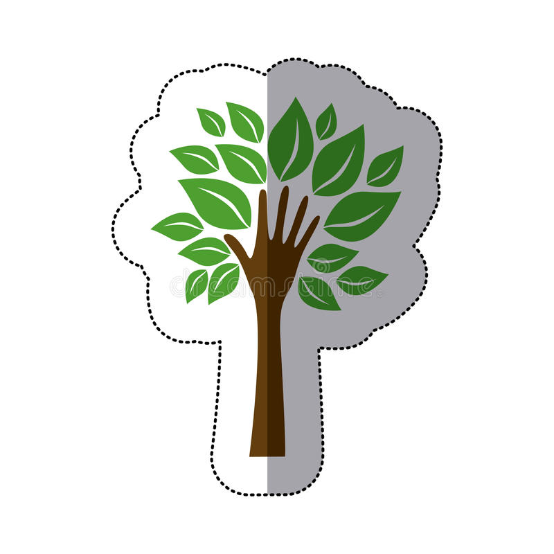 δέντρο χρώματος με τα φύλλα και μίσχος στο χέρι μορφής ελεύθερη απεικόνιση δικαιώματος