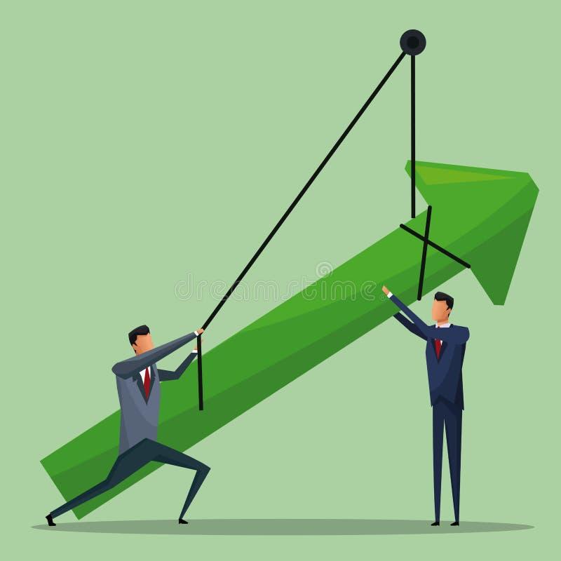 Ένωση αύξησης επιχειρησιακών βελών ατόμων διανυσματική απεικόνιση