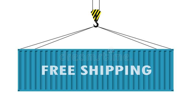 Ένωση εμπορευματοκιβωτίων φορτίου σε έναν γάντζο γερανών, ελεύθερη ναυτιλία - κείμενο επάνω ελεύθερη απεικόνιση δικαιώματος