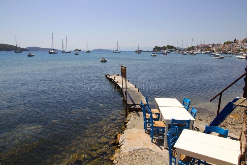 Ένωση καλαμαριών στην άκρη ενός taverna στο παλαιό λιμάνι Skiathos, πόλη Skiathos, Ελλάδα, στοκ φωτογραφία