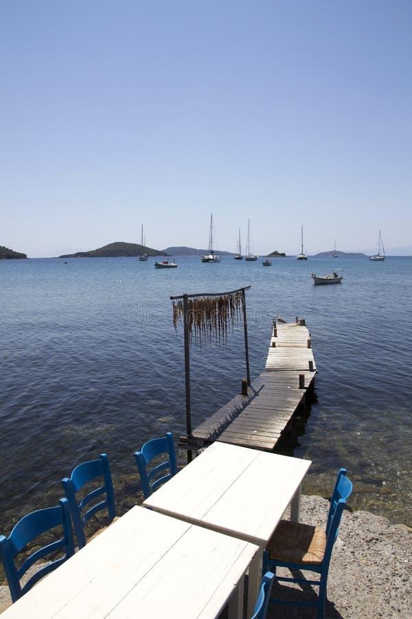 Ένωση καλαμαριών στην άκρη ενός taverna στο παλαιό λιμάνι Skiathos, πόλη Skiathos, Ελλάδα, στοκ εικόνα με δικαίωμα ελεύθερης χρήσης
