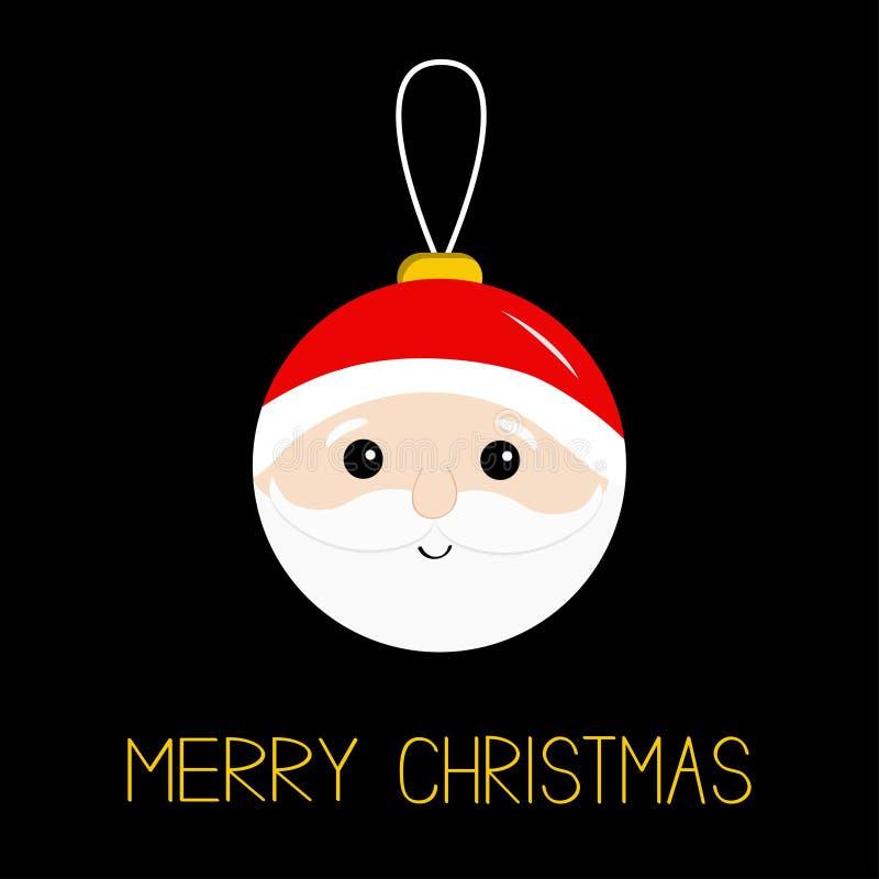 Ένωση παιχνιδιών σφαιρών Χαρούμενα Χριστούγεννας Επικεφαλής πρόσωπο Άγιου Βασίλη, γενειάδα, moustaches, άσπρα φρύδια, κόκκινο καπ διανυσματική απεικόνιση