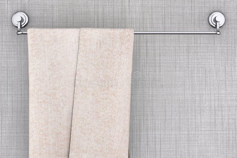 Ένωση πετσετών στο μακρύ νέο ράφι κατόχων πετσετών ανοξείδωτου τρισδιάστατος ελεύθερη απεικόνιση δικαιώματος