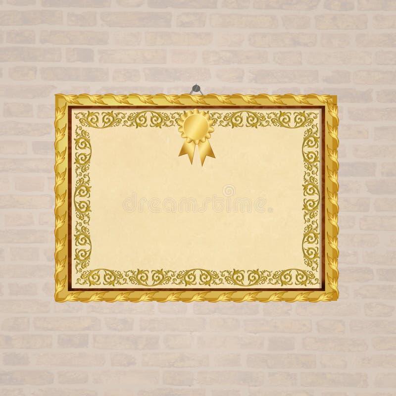 Ένωση πιστοποιητικών βαθμολόγησης στον τοίχο ελεύθερη απεικόνιση δικαιώματος