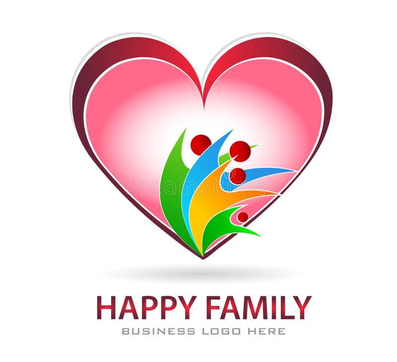 Ένωση προσοχής οικογενειακής αγάπης στο κόκκινο σημάδι στοιχείων εικονιδίων λογότυπων έννοιας επιχείρησης καρδιών στο άσπρο υπόβα απεικόνιση αποθεμάτων