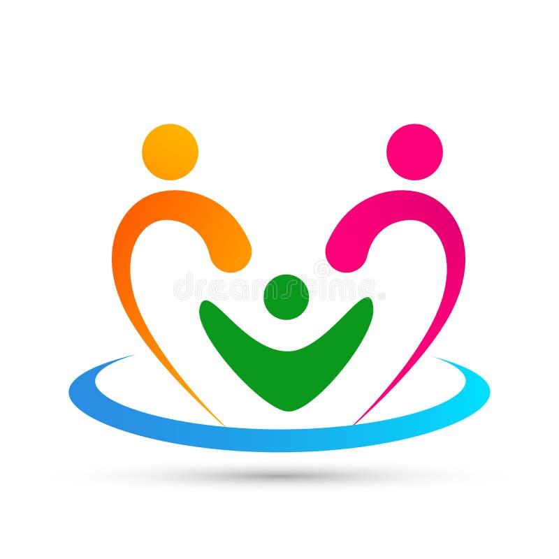 Ένωση προσοχής οικογενειακής αγάπης στο σημάδι στοιχείων εικονιδίων λογότυπων έννοιας επιχείρησης καρδιών στο άσπρο υπόβαθρο διανυσματική απεικόνιση