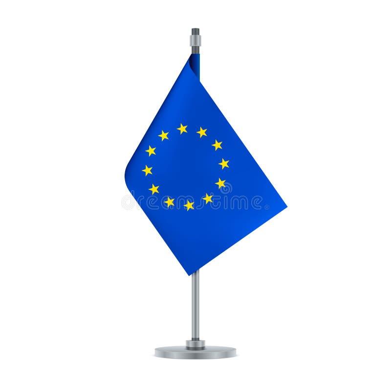 Ένωση σημαιών της Ευρωπαϊκής Ένωσης στο μεταλλικό πόλο, διάνυσμα ελεύθερη απεικόνιση δικαιώματος